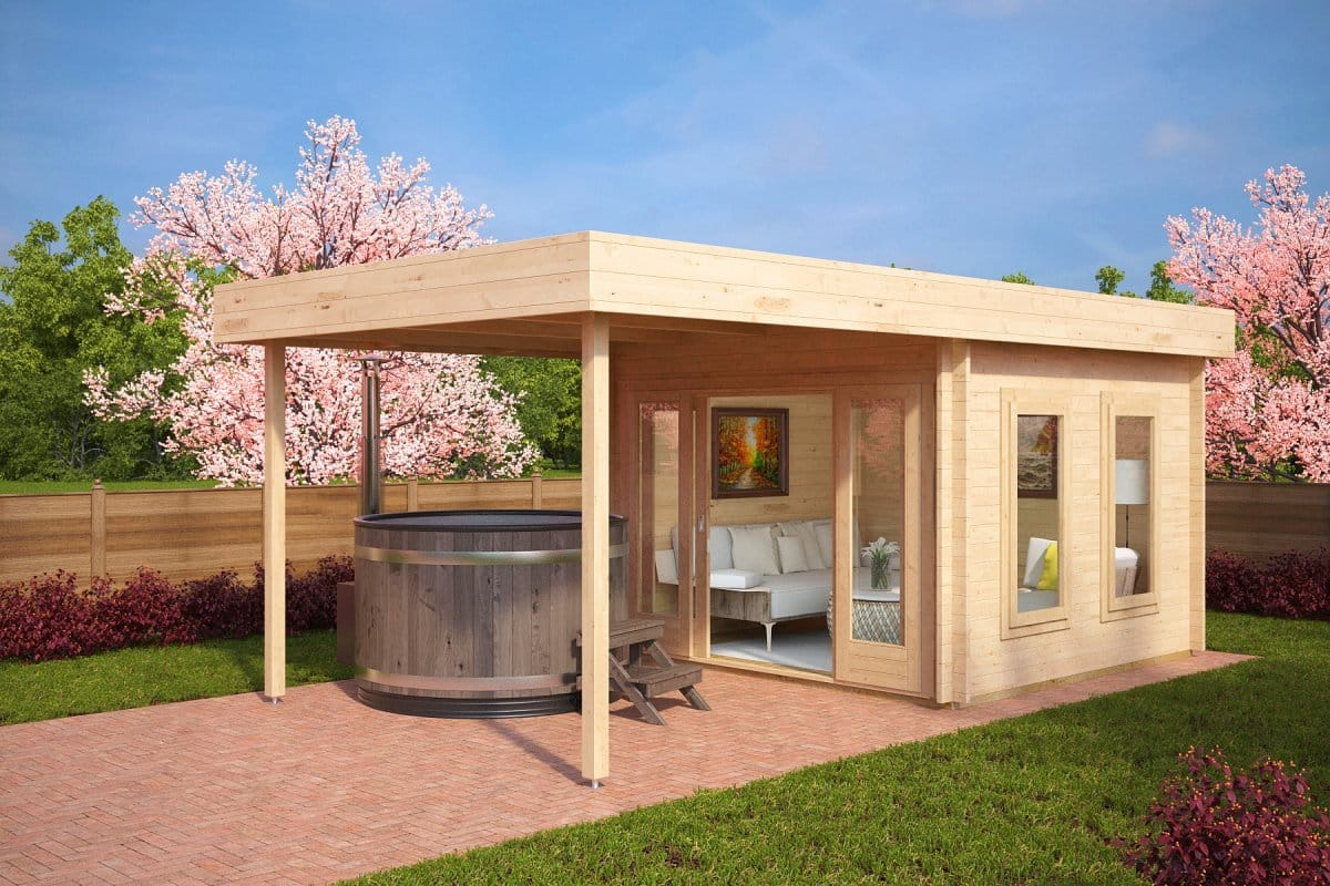 Modern garden log cabin with canopy lucas e 9m 44mm 3 for Modern garden house