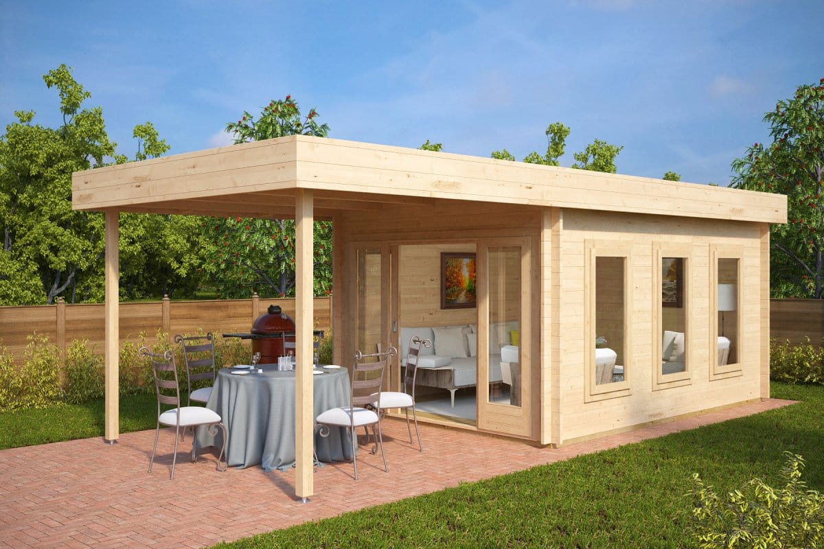 Modern garden summer house with canopy jacob e 12m 44mm for Garden designs with summer houses