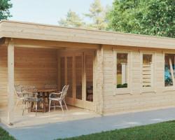 Contemporary Garden Summer House with Veranda Jacob E 12m² / 44mm / 7 x 3 m