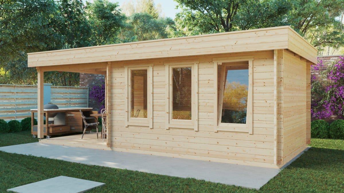 Contemporary Garden Summer House with Veranda Jacob E 12m² / 44mm / 7 x 3 m