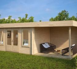 Contemporary Garden Log Cabin with Veranda Jacob D