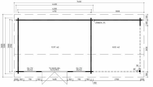 Contemporary Garden Log Cabin with Veranda Jacob D ground plan