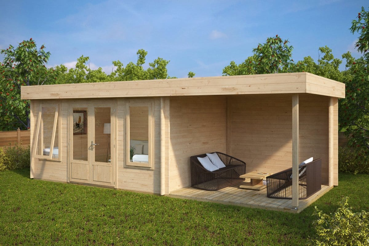 Contemporary garden log cabin with veranda jacob d 12m for Casette da giardino moderne