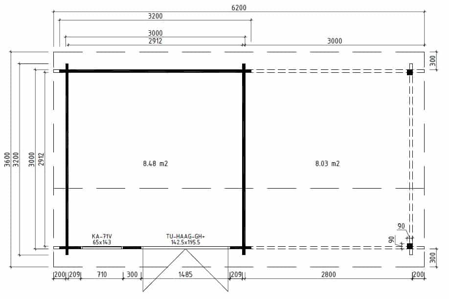 Contemporary Garden Room with canopy Lucas D ground plan