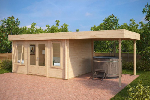 Modern Garden Log Cabin with Canopy Jacob D