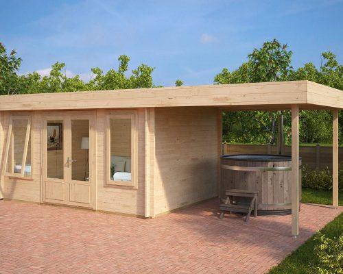 Modern Garden Log Cabin with Canopy Jacob D