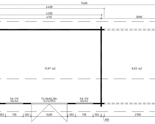 Modern Garden Log Cabin with Canopy Jacob D ground plan