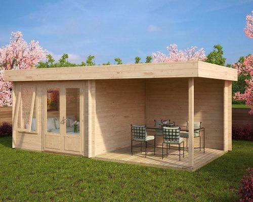 Modern garden room with veranda lucas d 9m 44mm 6 x 3 for Contemporary garden office buildings