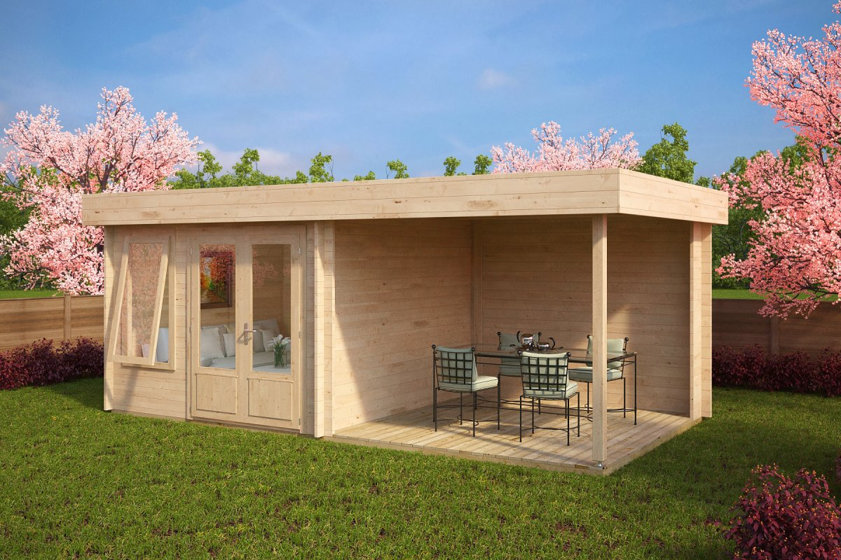 Modern garden room with veranda lucas d 9m 44mm 6 x 3 for Modern house garden