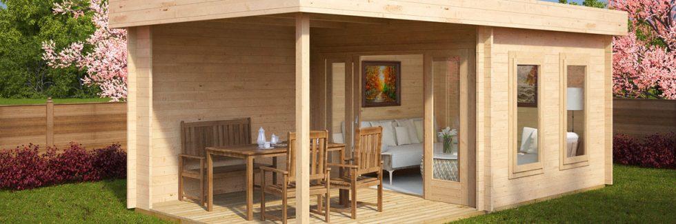Contemporary Garden Log Cabin with Veranda