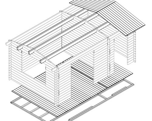 Garden Room and Shed Combined Super-Fred 3D