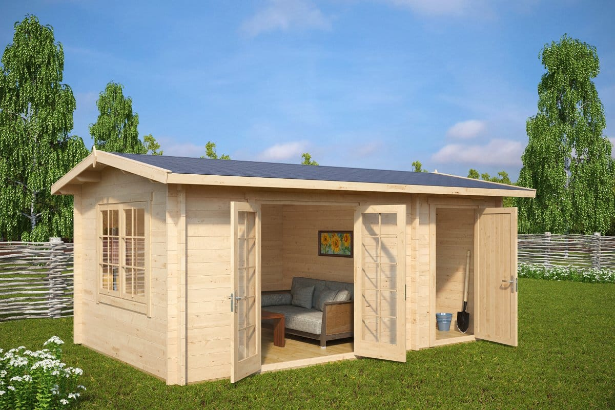 Garden room and shed combined super fred 15m2 44mm 5 x for Large garden room