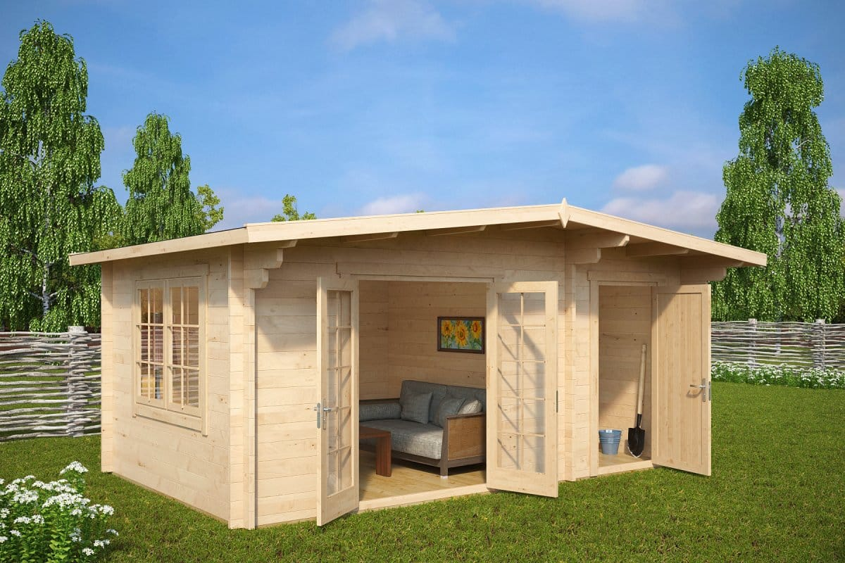Summer house with shed super otto 15m2 44mm 5 x 3 m for Garden shed large