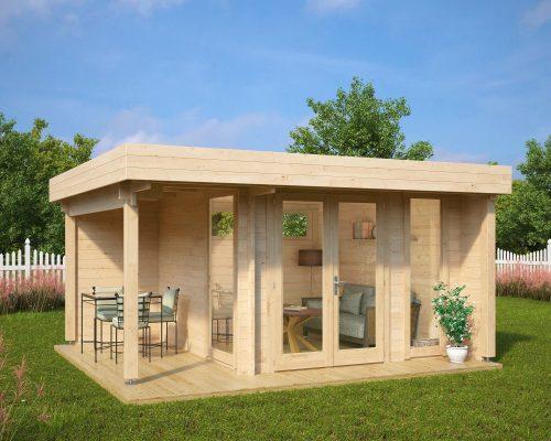 Garden office garden room mini hansa lounge 9m2 44mm 3 for Garden house office