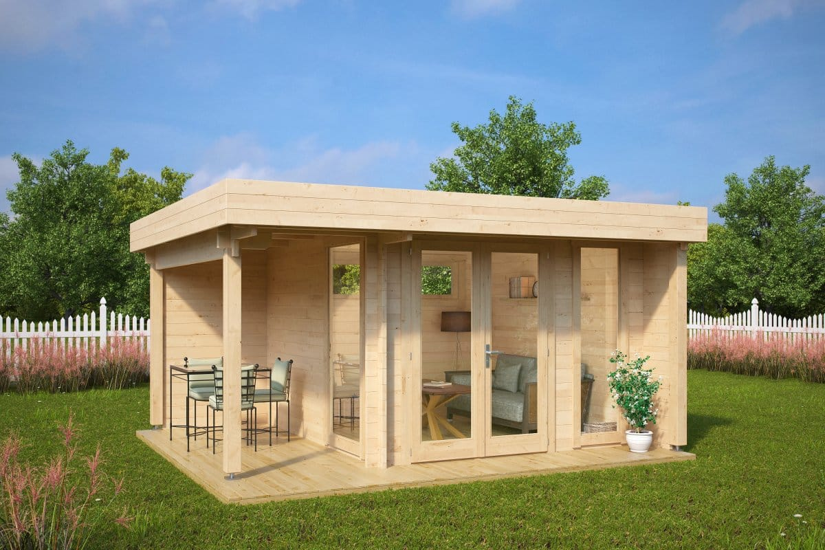 Garden office garden room mini hansa lounge 9m2 44mm 3 for House plans with garden room
