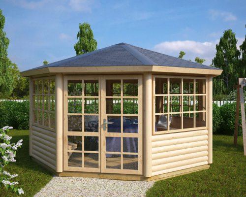 Large octagonal garden room seattle 14m2 55mm 4 4 x 4 for Large garden office