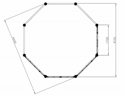 Large Octagonal Garden Room Seattle XL ground plan