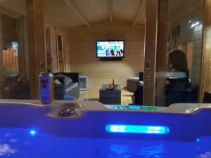 Eva E Garden TV Room with Hot Tub
