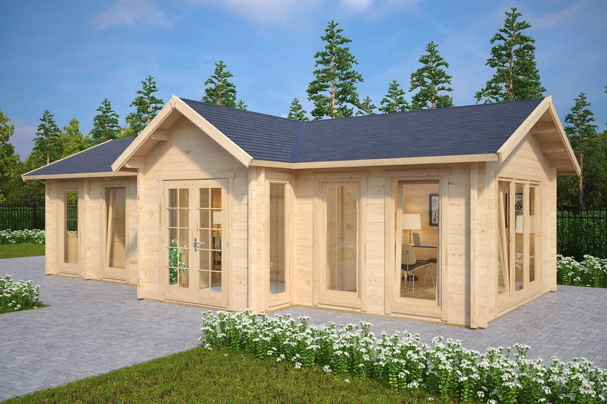 Large garden log cabin the hansa office 40m2 70mm 4 x for Bestes holzhaus