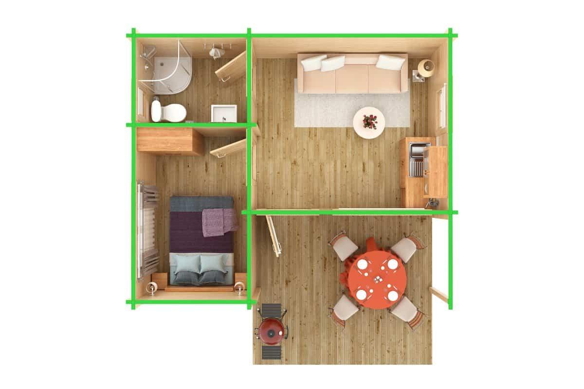 3-Room Log Cabin Garden Guesthouse Oscar