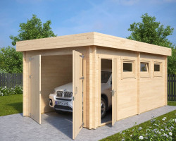 DIY Wooden Garage C with Double Doors
