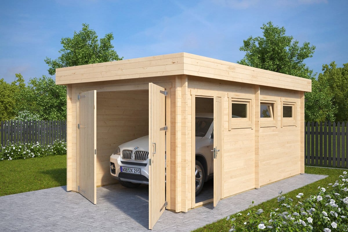 Modern wooden garage c with double doors 44mm 3 x 5 5 for Diy 3 car garage