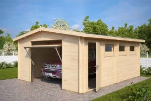 Large Log Cabin Garage Hansa B with Up and Over Door