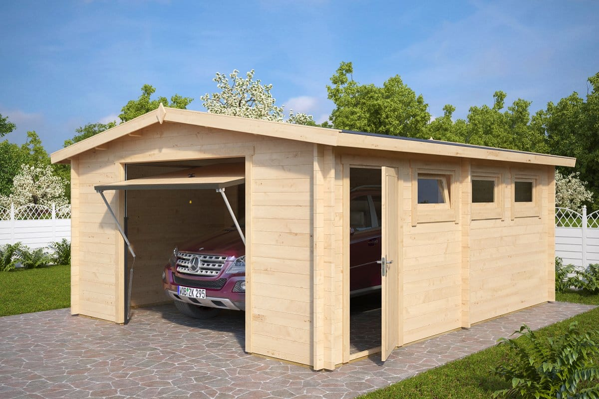 Large log garage hansa b with up and over door 44mm 4 for Garages and carports