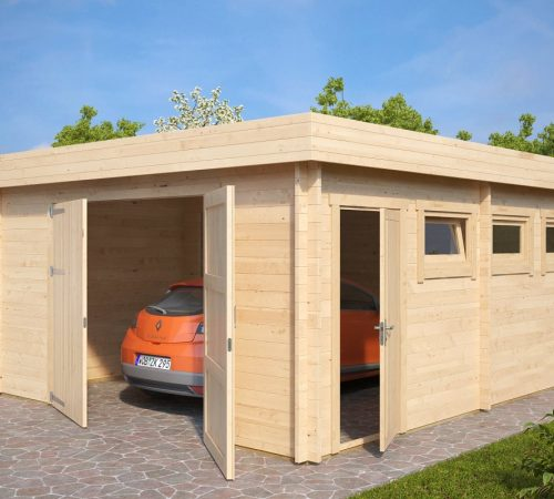 Large Timber Garage D With Double Doors 44mm 4 5 X 5 5