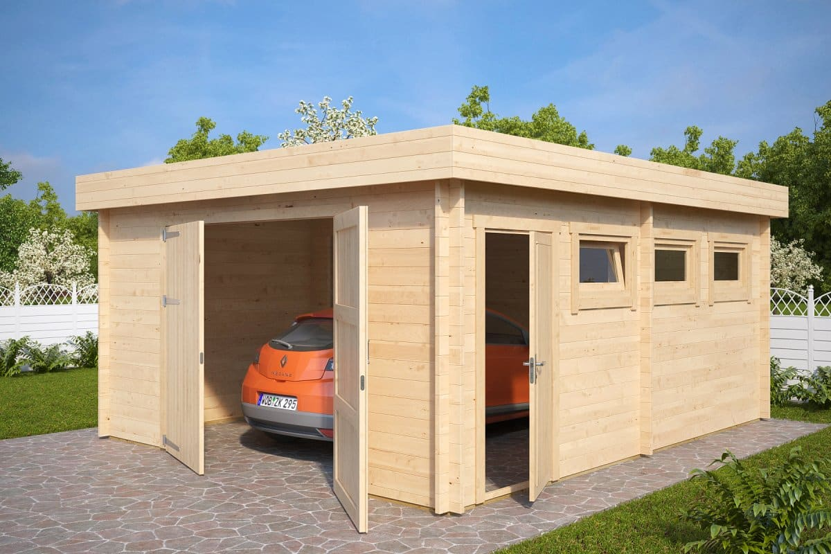Large timber garage d with double doors 44mm 4 5 x 5 5 for Two door garage