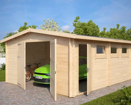 Large Wooden Garage Hansa B With Double Doors 44mm 4 5