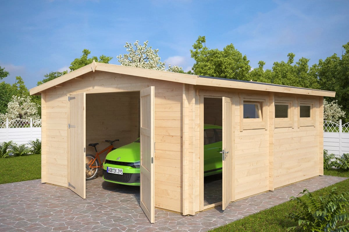 Large Wooden Garage Hansa B With Double Doors 44mm 4 5