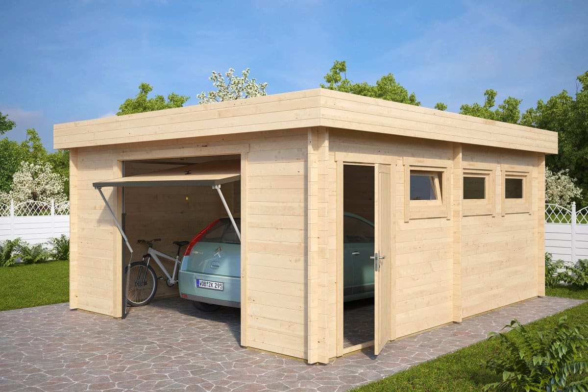Modern garage d with up and over door 44mm 4 5 x 5 5 m for Carports and garages