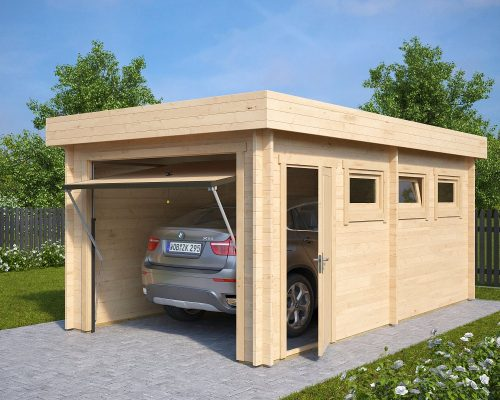 self assembly wooden garage c with up and over door 44mm 3 x 5 5 m summer house 24. Black Bedroom Furniture Sets. Home Design Ideas