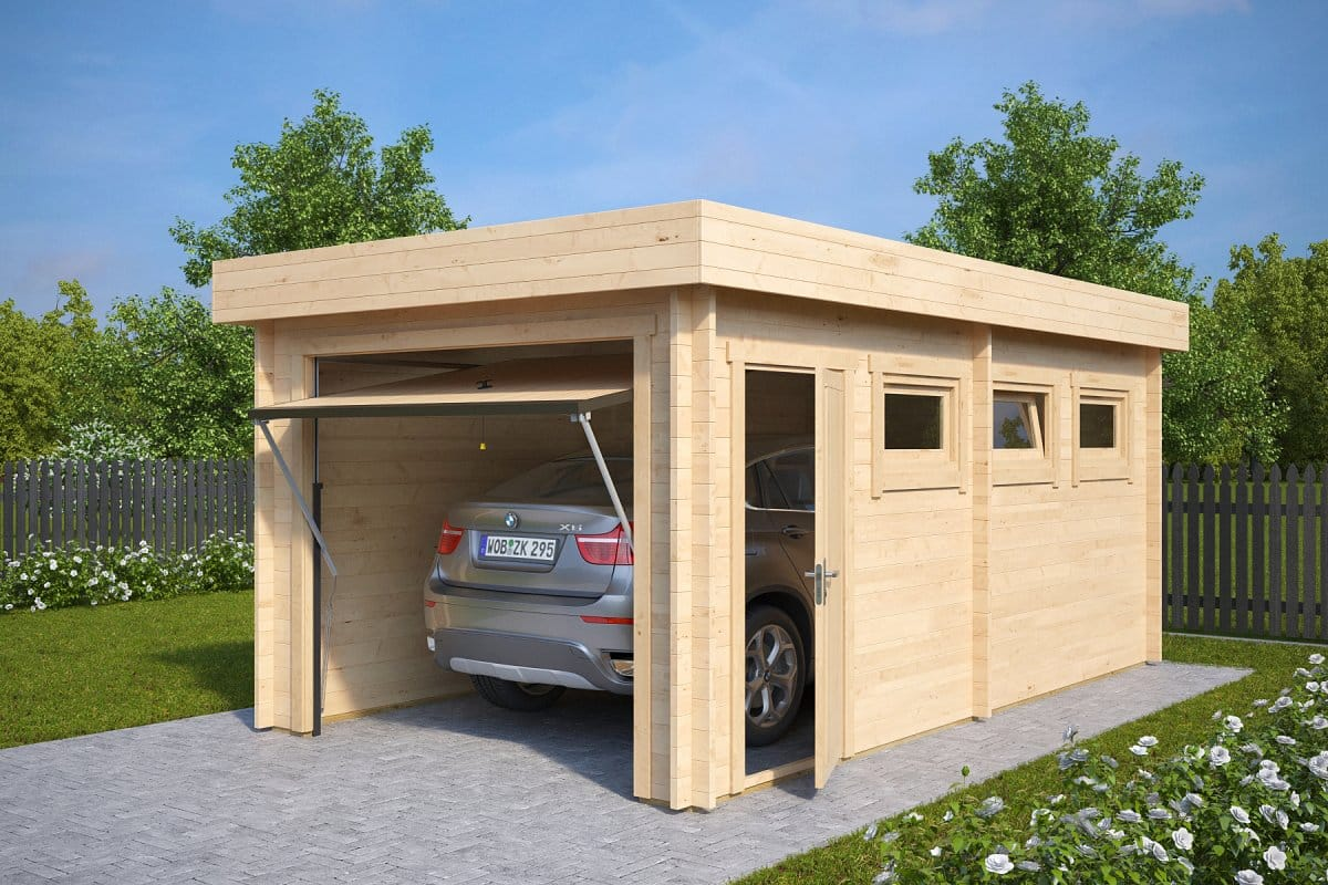 Modern wooden garage c with up and over door 44mm 3 x for Garages and carports