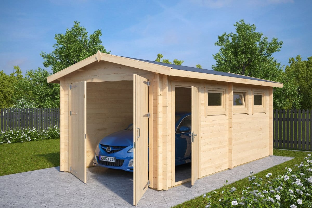 Wooden garage a with double doors for Two door garage