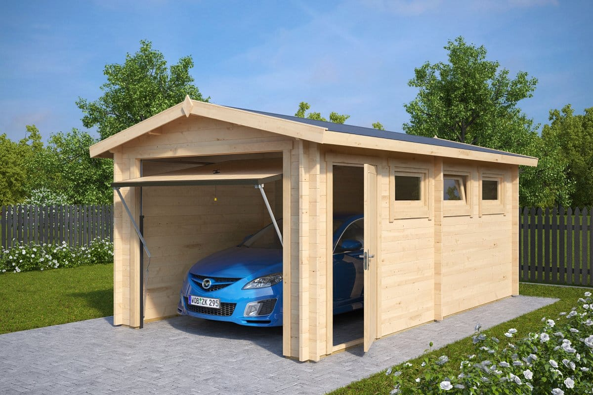 Wooden garage a with up and over door 44mm 3 x 5 5 m for Carport ou garage