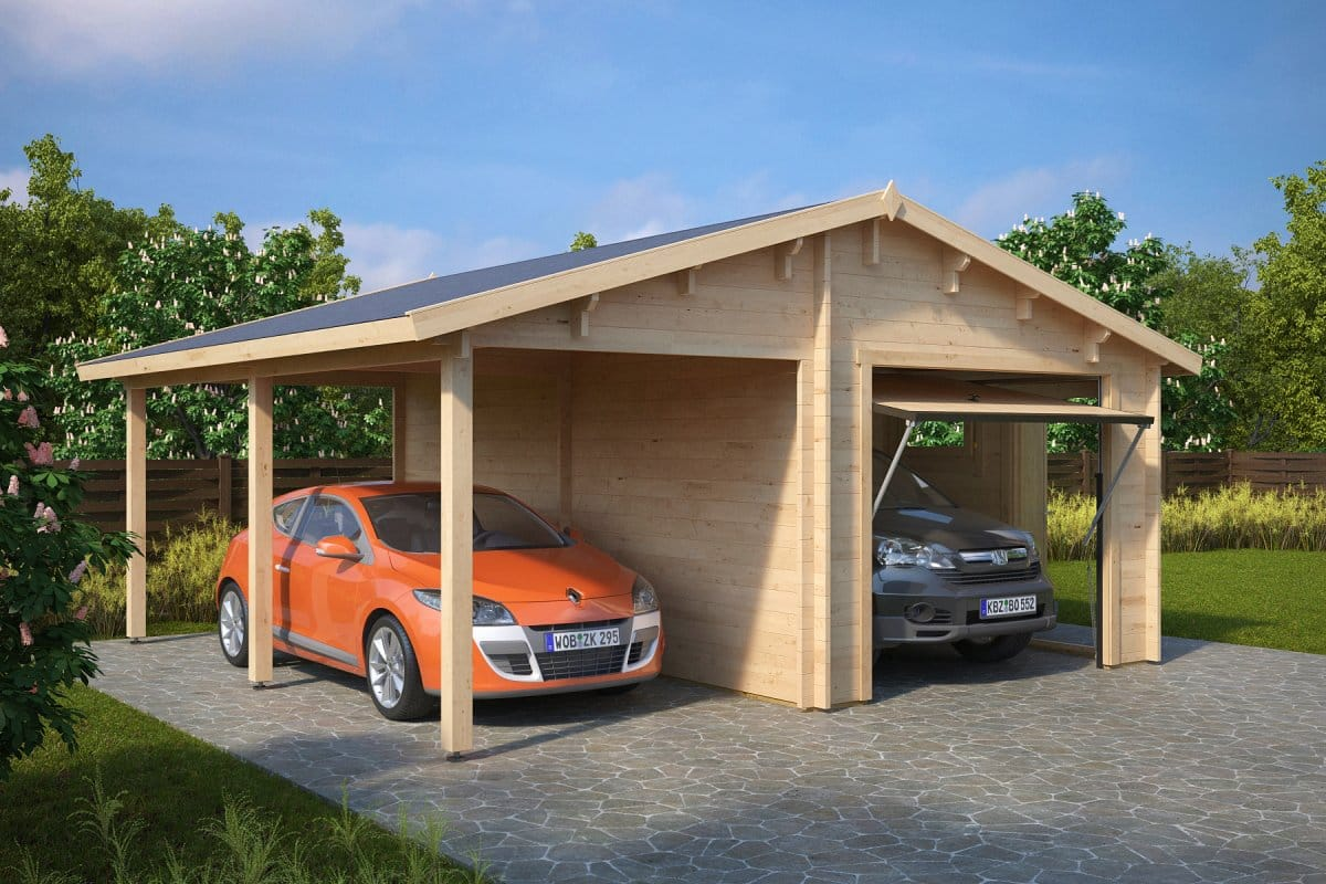 combined garage and carport with up and over doors type g 44mm 6 x 6 m summer house 24. Black Bedroom Furniture Sets. Home Design Ideas
