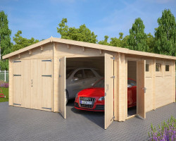 Wooden Double Garage E with Double Doors