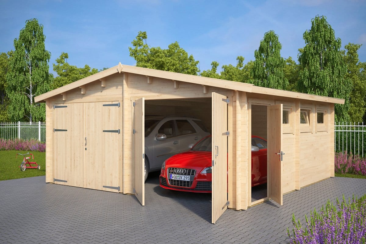 Wooden Double Garage E With Double Doors 44mm 5 5 X 5 7 M