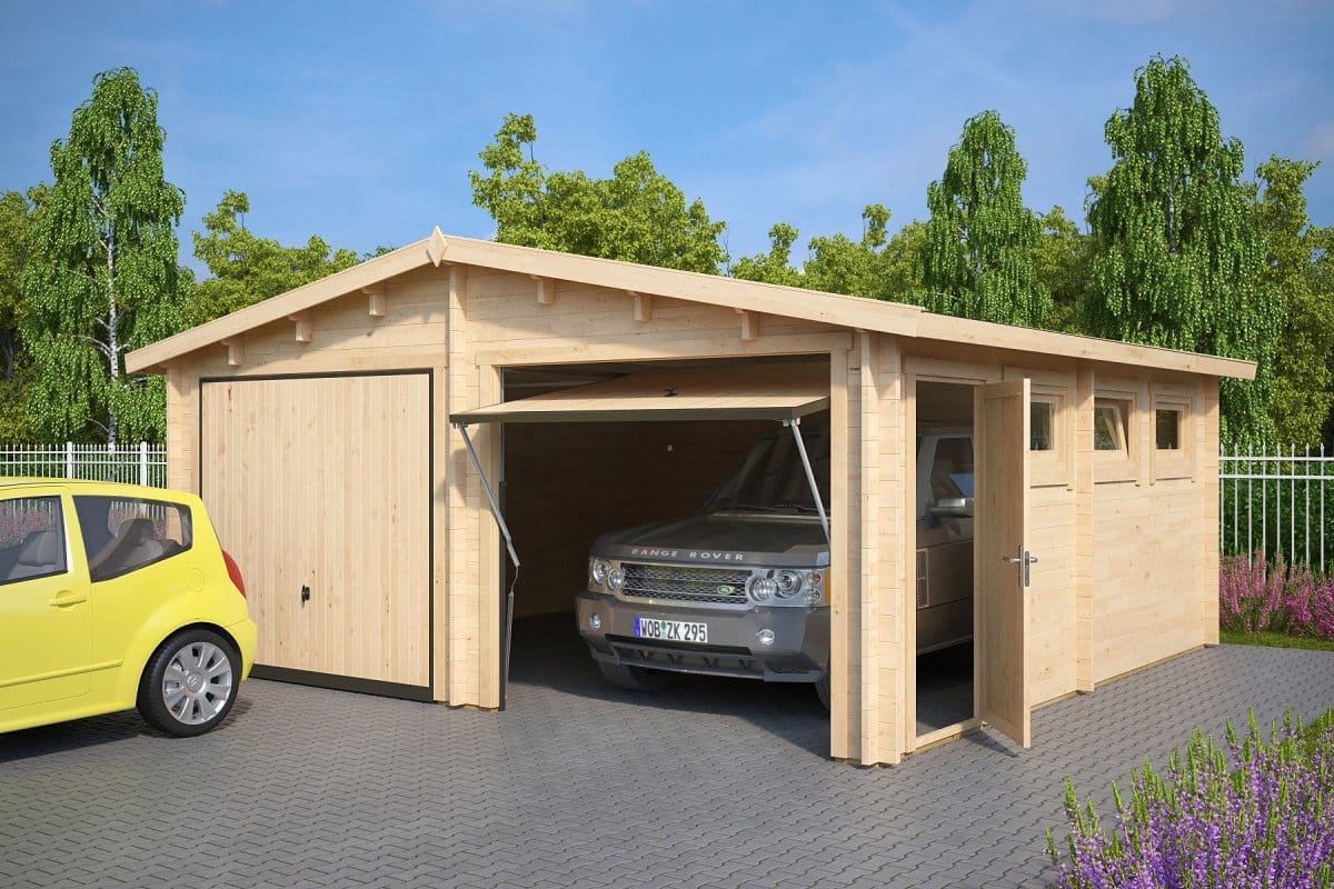 diy double garage e with up and over doors 44mm 5 5 x 5 7 m summer house 24. Black Bedroom Furniture Sets. Home Design Ideas