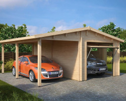 Combined Garage and Carport with Up and Over doors Type G