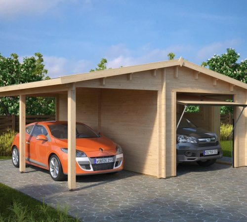 Combined garage and carport with up and over door type g for Garage and carport combination