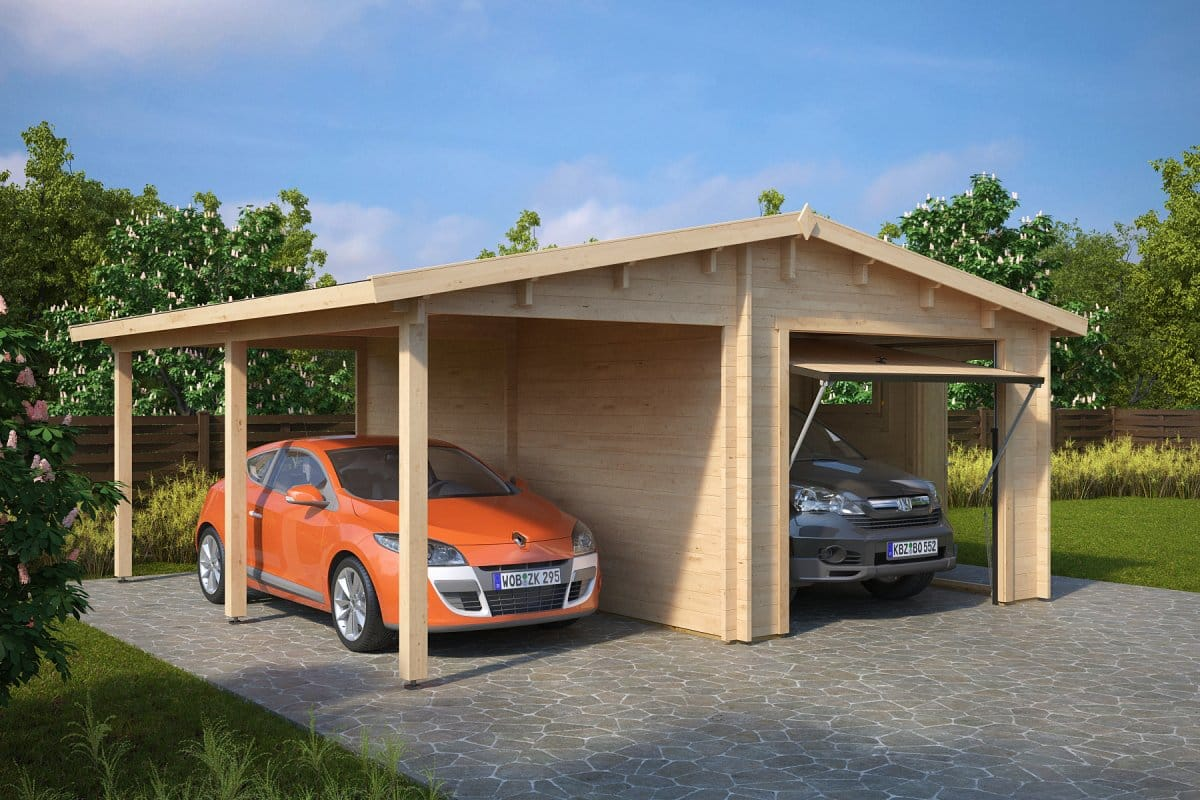 combined garage and carport with up and over door type g 44mm 6 x 6 m summer house 24. Black Bedroom Furniture Sets. Home Design Ideas