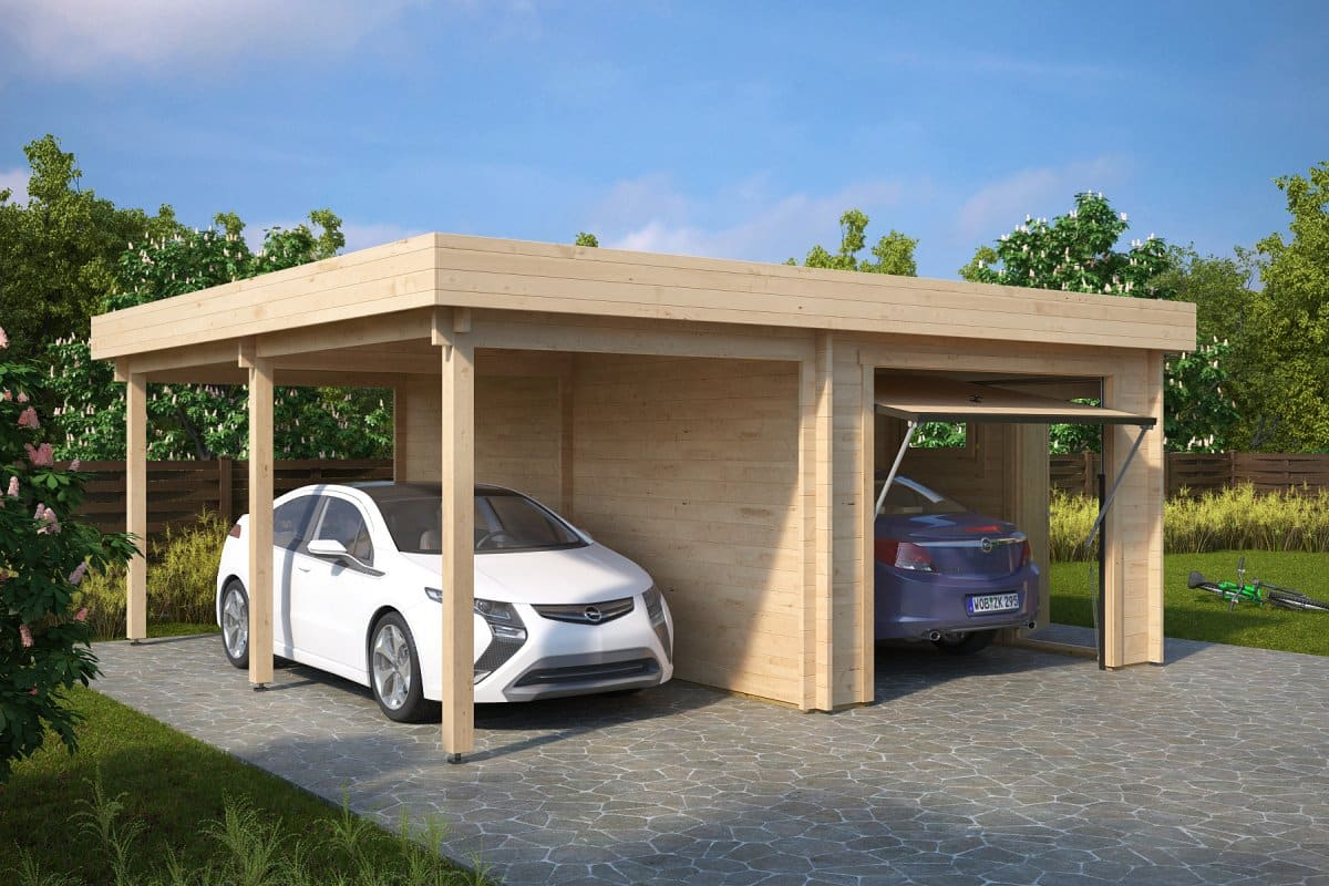 Combined garage and carport with up and over doors type h for Carport garages