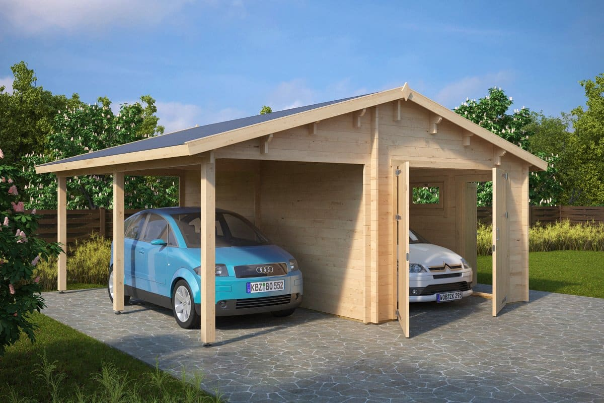 Wooden summer house and shed combination gartenhaus mit 2 for Garage plans with carport