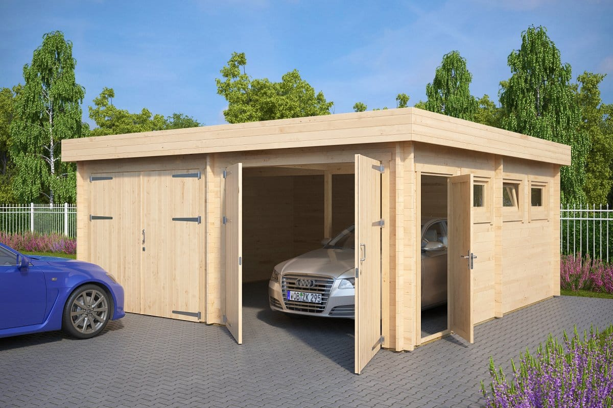 Modern double wooden garage f with flat roof 44mm 6 x for Shed roof garage