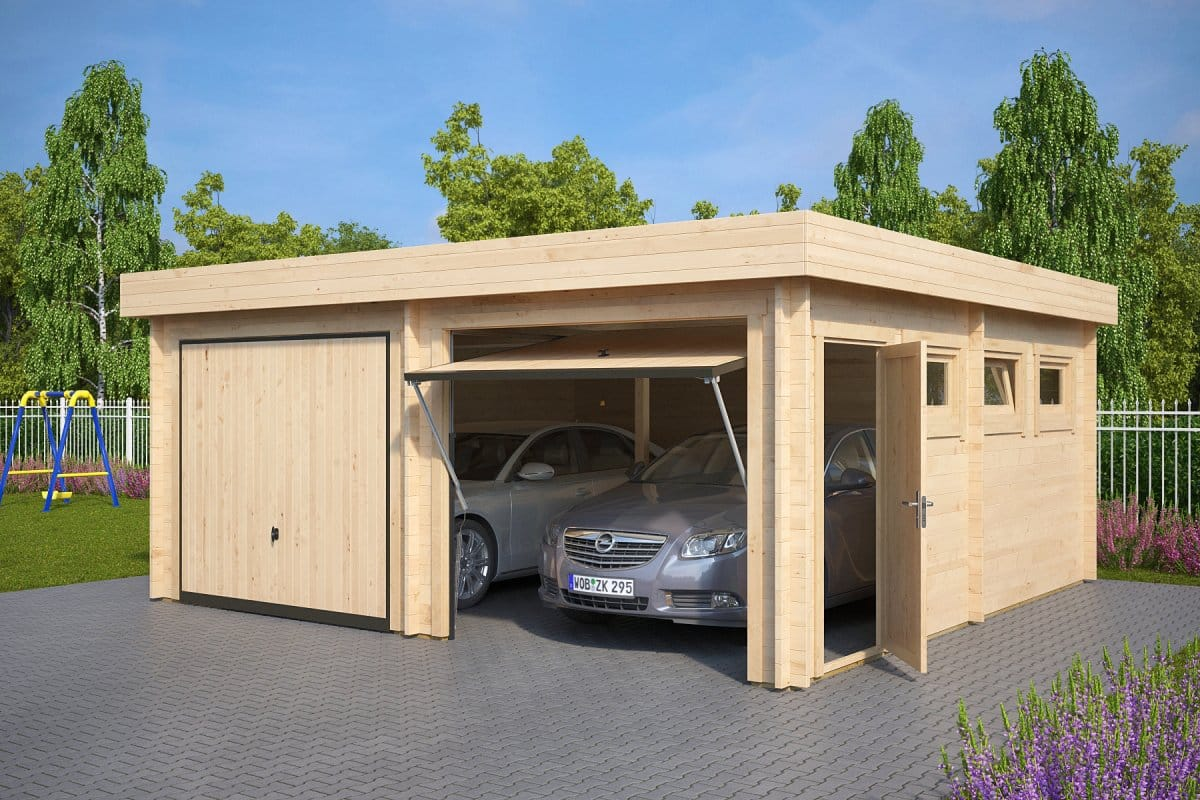 Modern double wooden garage f with up and over doors for Carports and garages