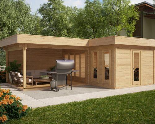 Corner summer house with large veranda hansa a 18m2 44mm for Corner garden office