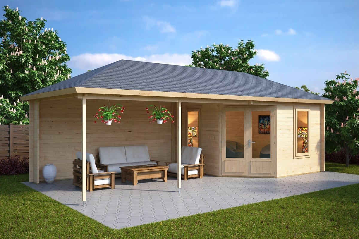 Garden room sophia with veranda 10m 44mm 3 5 x 8 m for Garden designs with summer house